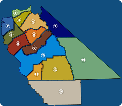 14 Central California Counties